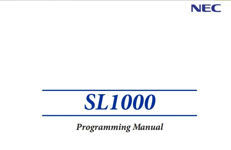 download programming manual pabx nec sl 1000
